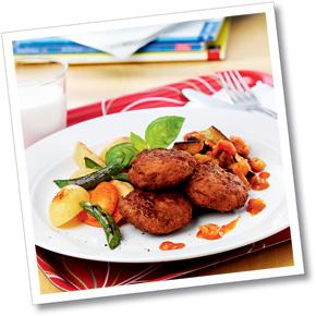 Pannbiff med ugnsbakade grönsaker och ratatouille