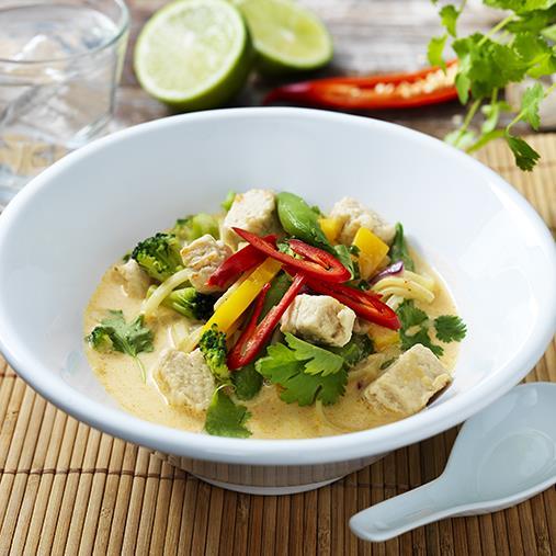 Thaisoppa med Quornbitar & Wokgrönsaker