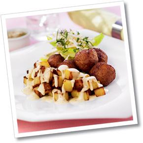 Köttbullar med senapsripplad potatis