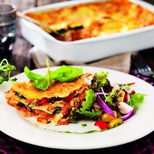 Italiensk vegetarisk lasagne med Veggie färs