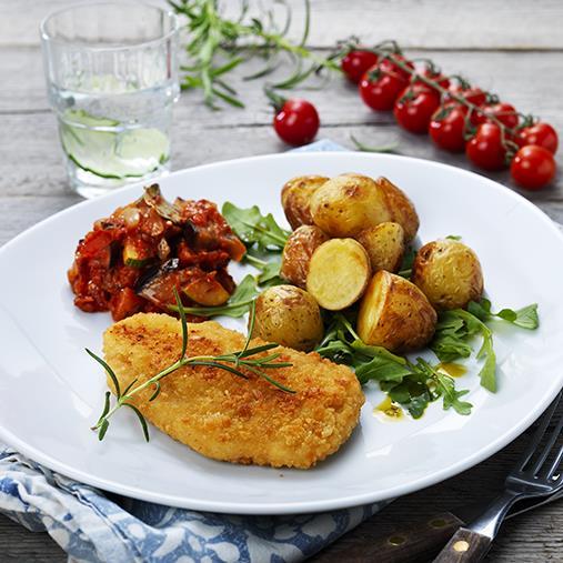 Emmentaler Quorn Schnitzel med ratatouille & rostad potatis
