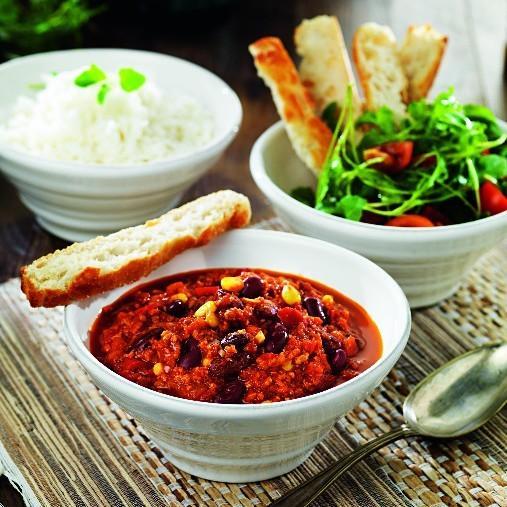 Spicy hot chili pot med Veggie färs