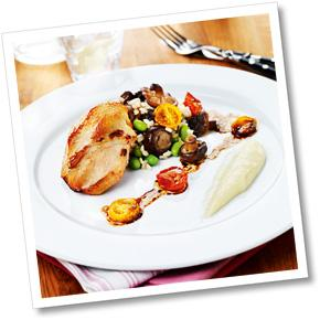 Kyckling, svamprisotto, rostad jordärtkockspuré & varm teriyakivinaigrette