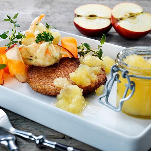 Veggie burgare med selleristomp & äppelchutney