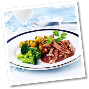 Kycklinggryta med grönkålssauterad potatis och broccoli  A-kost
