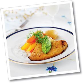 Lättpanerad fisk med svensk pesto