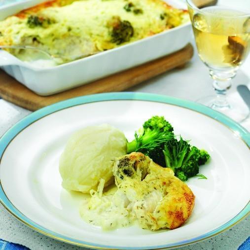 Fiskgratäng med blomkål och broccoli A-kost