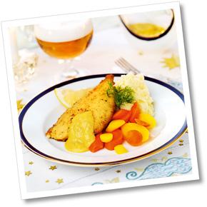 Lättpanerad fisk med grönsakshollandaise